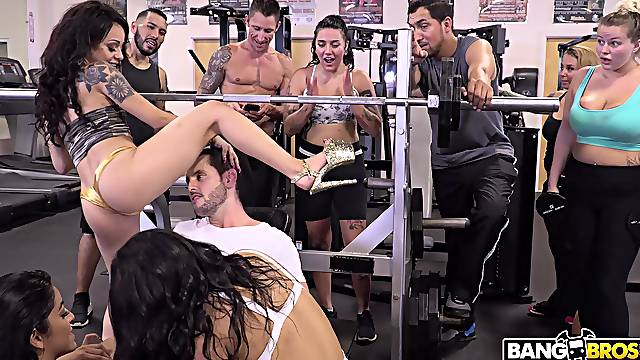 Amazing sex party between one guy and cock hungry stars like Holly