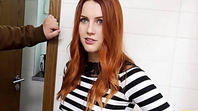 Hunter fucks gorgeous redhead in the public restroom