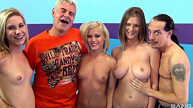 Wild group sex between one dude and three horny pornstars. HD