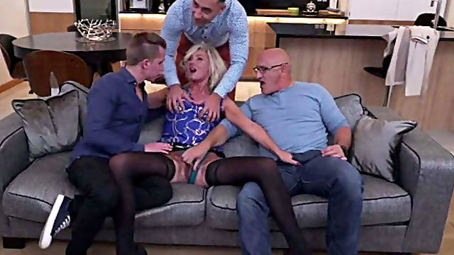 Depraved blonde tied up a cuckold and gave herself to three men