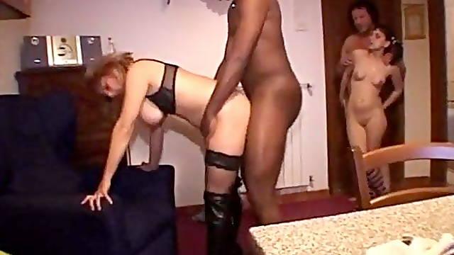 Interracial swingers' foursome sex