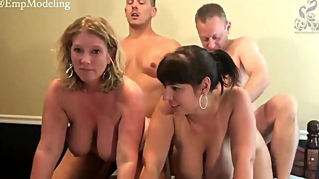 Two couples of swingers on webcam