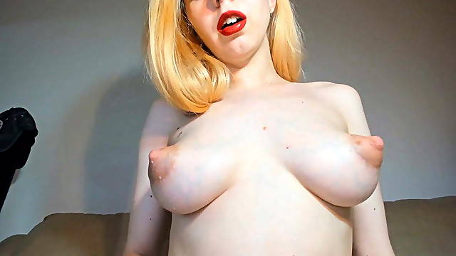 Skinny blonde with milking puffy nipples rides cock