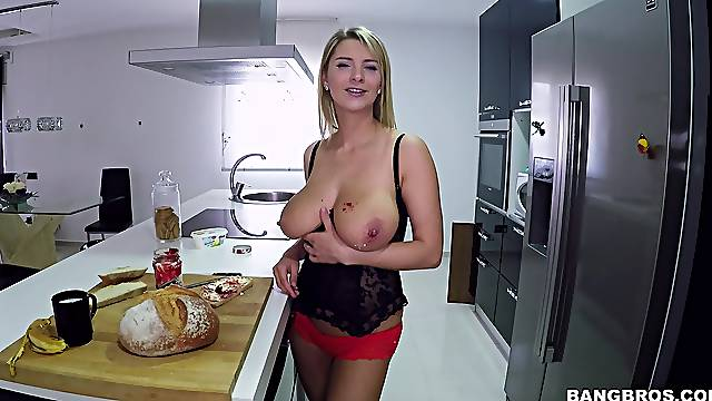 Quickie fucking in the kitchen with large tits wife Katarina Hartlova
