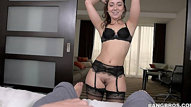Foxy girlfriend Remy LaCroix in lingerie and stockings riding a dick