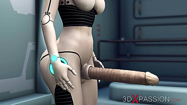 Alien lesbian sex in sci-fi lab. Female android plays with an alien