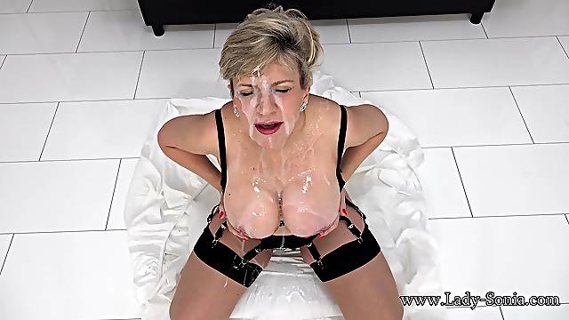 Busty mature Lady Sonia wants to be covered in cum