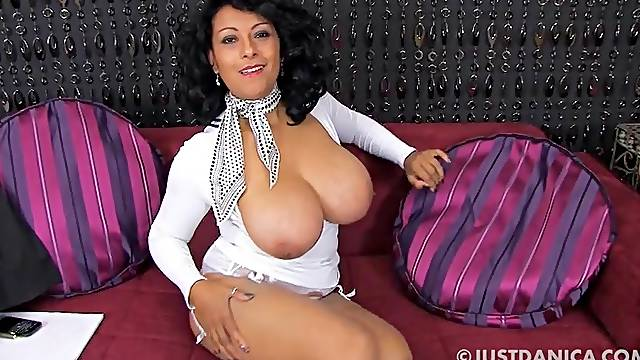 Large tits mature Danica Collins knows how to tease at the camera