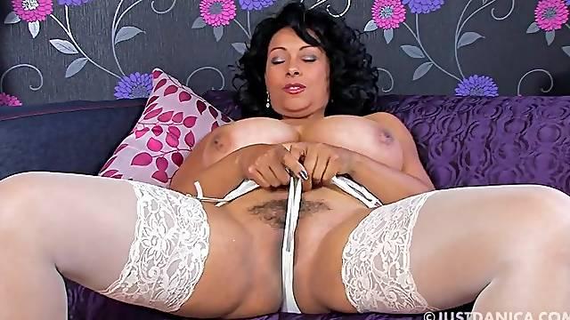 Naughty hottie Danica Collins enjoys teasing with her big boobs