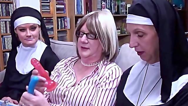 Older crossdressers use dildos on a  female