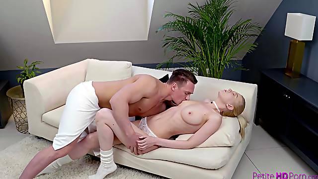 Balls deep fucking on the sofa with natural boobs Avrora White