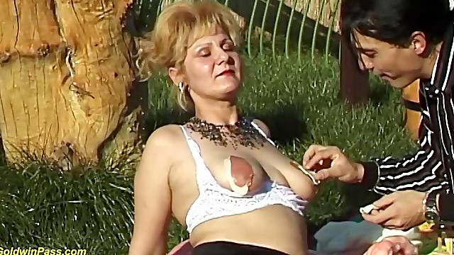 Busty hairy bush mom enjoys a extreme rough fuck lesson in public