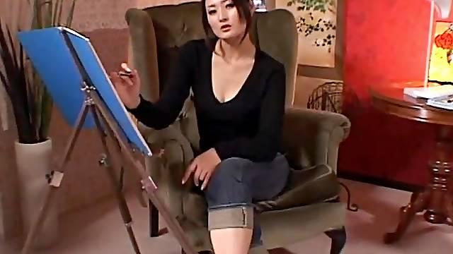Naughty Japanese painter Risa Murakami gives a footjob and blows