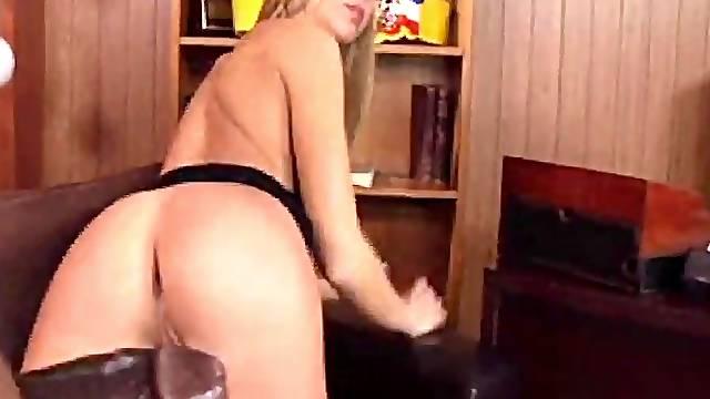Blonde Slut Riding Big Black Cock Dong Doing Gently