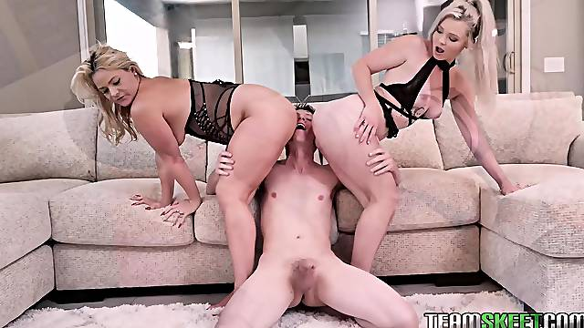 Big butt sluts Kay Carter and Lisey Sweet have a FFM threesome