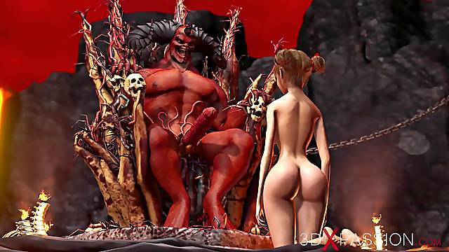 Devil plays with a super hot girl in hell