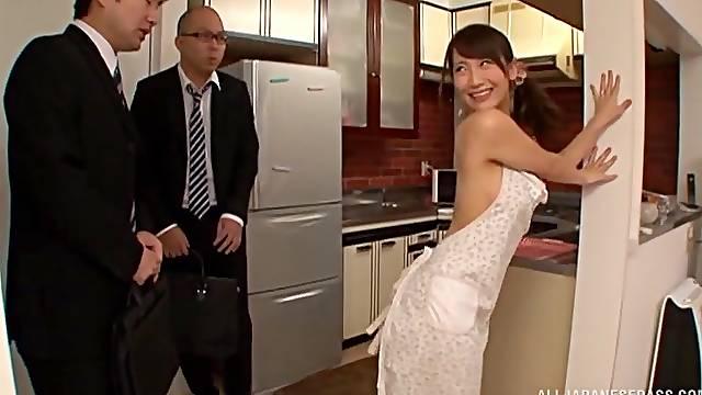 Hardcore fucking in the kitchen with hot ass Japanese Kurata Mao