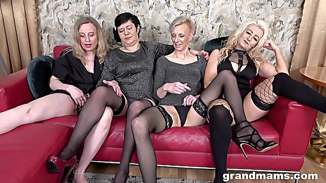 Nasty group sex party with four mature babes who love cum