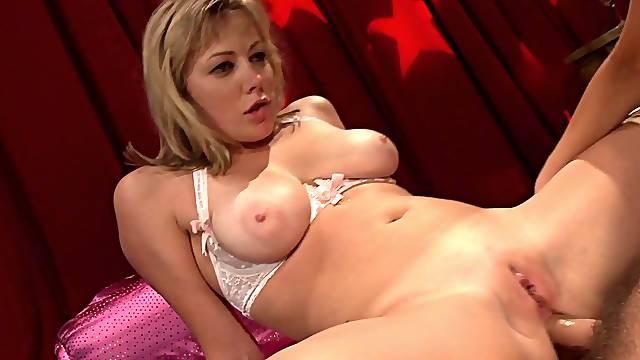 Wild group sex on the sofa with stunning blondie Adrianna Nicole