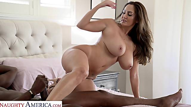 Large boobs MILF Ava Addams calls a black dude to drill her cunt