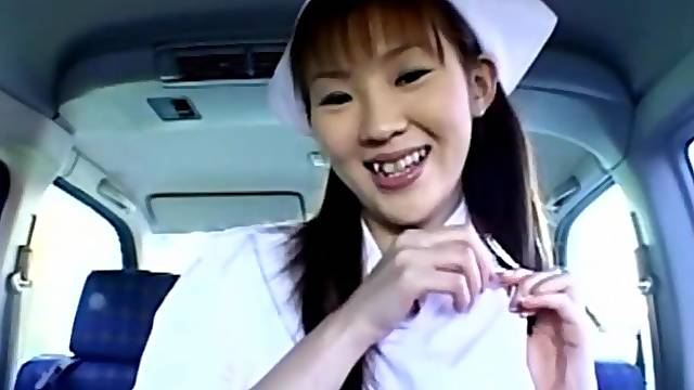 Closeup video of cute Mari Yamada giving a sloppy BJ in the car