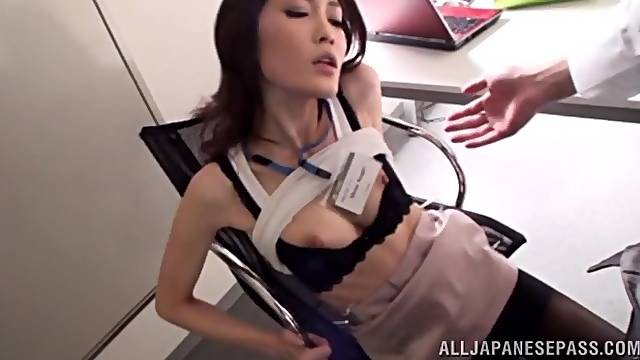 Quickie fucking in the office with a hot ass Japanese secretary