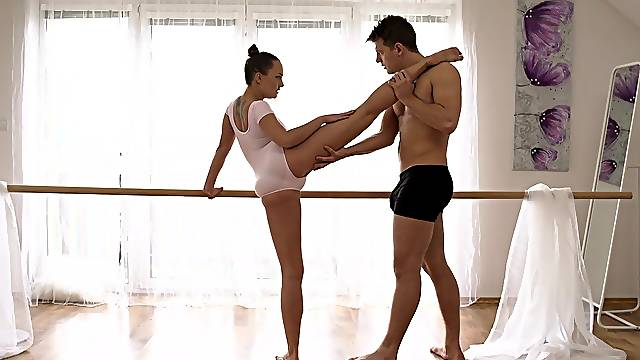 Tight ballerina plays with cock like a goddess