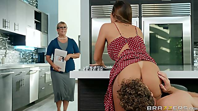 Big ass wife fucked hard in the kitchen and made to swallow