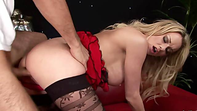 Horny man takes good care of this busty mom's soaked cunt