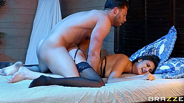 Brunette moans and trembles with a huge dick in her tiny pussy