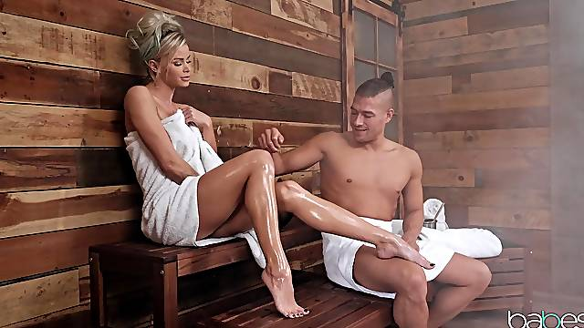 MILF tries anal at the sauna when hubby is not there
