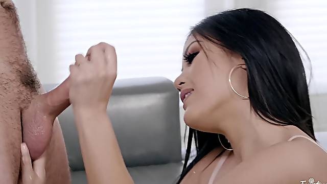 Brunette leaves horny stud to sting her pussy with that magic dick