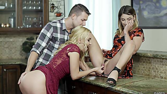 Remarkable kitchen threesome with mommy and her slutty step daughter