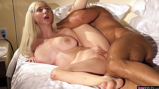 Blonde with huge naturals, first time sucking and fucking daddy