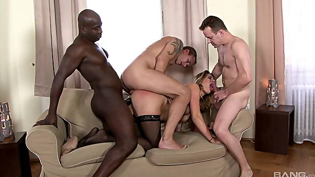 Nude blonde ass fucked by a group of men in exchange for cash