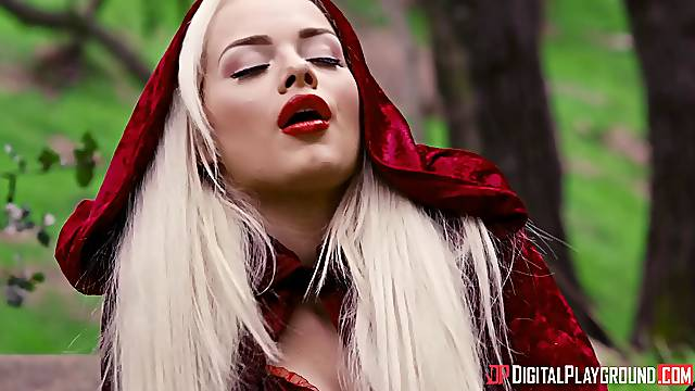 This blonde fucks with the big bad wolf