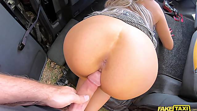 Wife gets gagged and fucked by the younger taxi driver