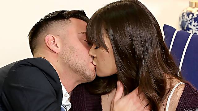 Brunette angel Alison Rey gets her waxed pussy licked and dicked