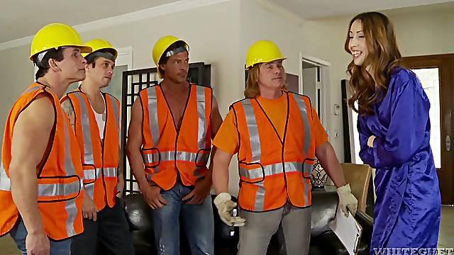 Builders shag wife during insane home gang bang