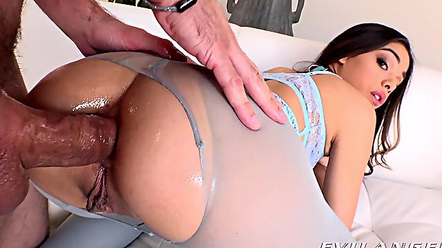 Deep anal for the slim honey during a ruthless home shag