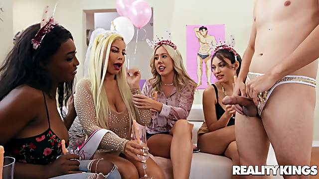 Party babes are keen to soak this dick into their wet holes
