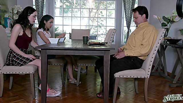 Step sisters are keen to share white man's energized dick