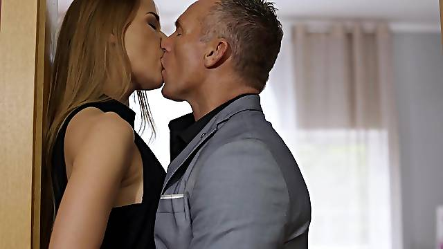 Elegant woman fucked standing and made to swallow big time