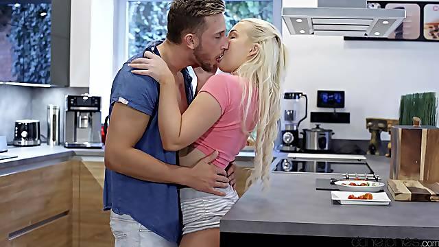 Daytime delights in the kitchen for hot blondie Lovita Fate