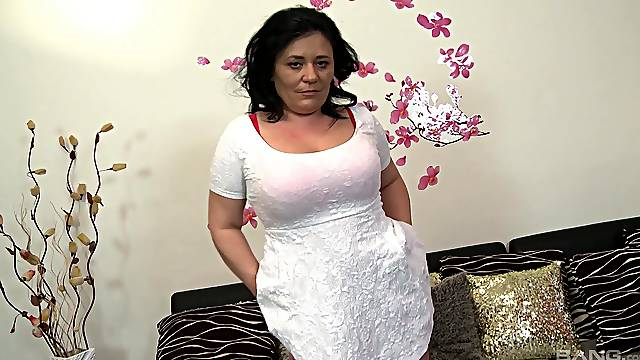 Hot chubby mature sucks and fucks for a proper load on those jugs