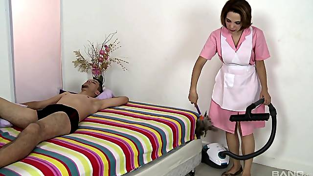 cleaning lady fucks the young man and swallows his sperm
