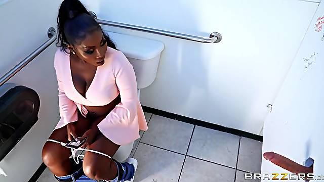 Surprise interracial sex for slutty Osa Lovely in a public bathroom