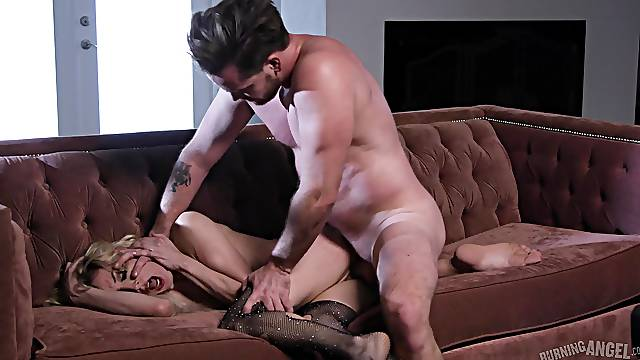 The guy fucks her tight pussy in a pretty dominant play