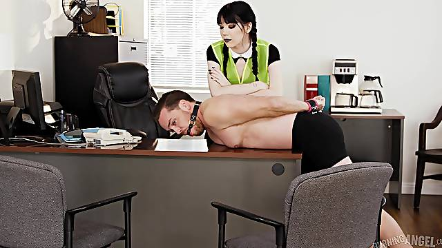 Asian babe loves dominating her male slave at the office