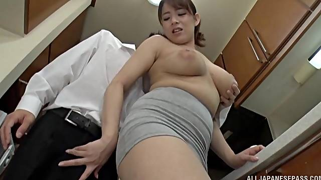 Addictive Japanese kitchen sex for a naked wife